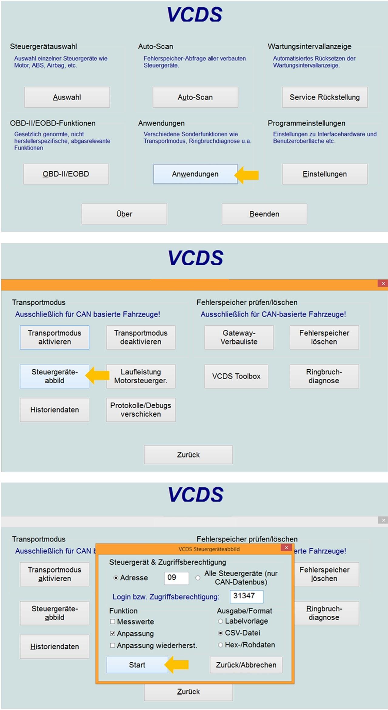 VCDS Steuergeräteabbild erstellen / Anleitung